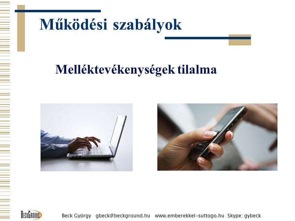 Melléktevékenységek tilalma Működési szabályok Beck György gbeck@beckground.hu www.emberekkel-suttogo.hu Skype: gybeck