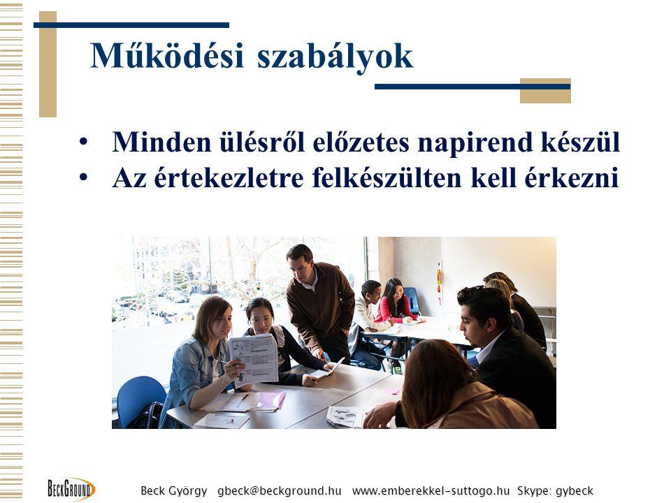 Minden ülésről előzetes napirend készül Az értekezletre felkészülten kell érkezni Működési szabályok Beck György gbeck@beckground.hu www.emberekkel-su