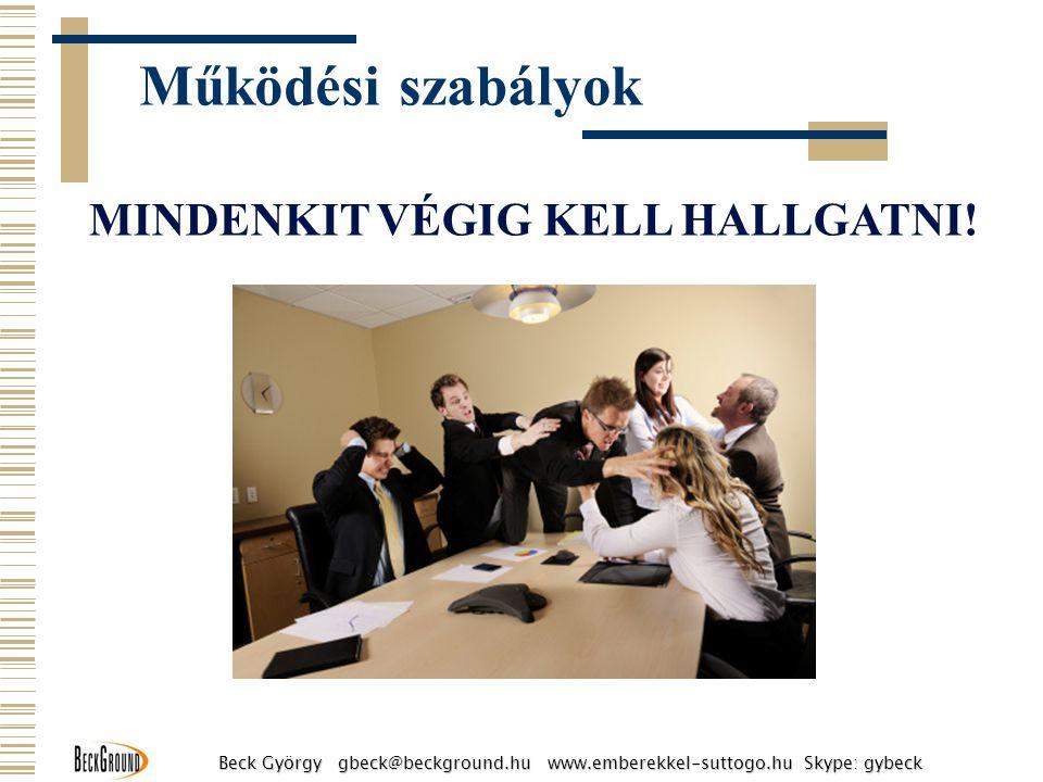 MINDENKIT VÉGIG KELL HALLGATNI! Működési szabályok Beck György gbeck@beckground.hu www.emberekkel-suttogo.hu Skype: gybeck