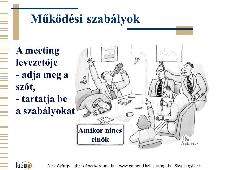 Amikor nincs elnök A meeting levezetője - adja meg a szót, - tartatja be a szabályokat Beck György gbeck@beckground.hu www.emberekkel-suttogo.hu Skype