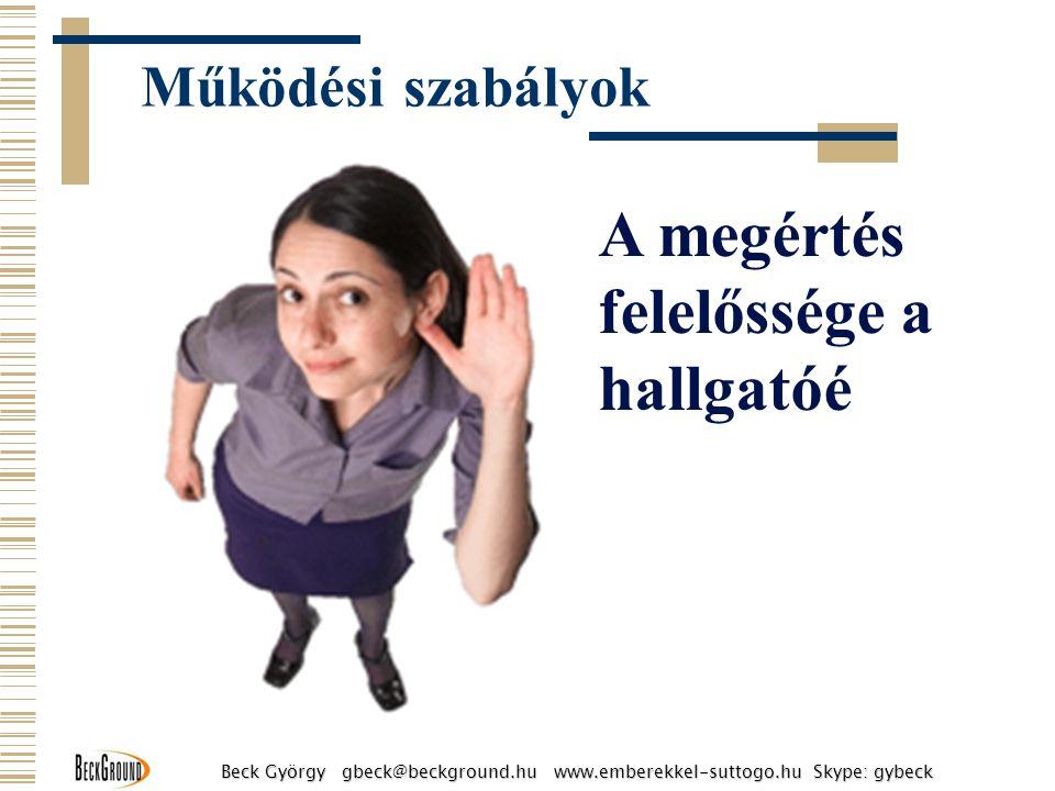 A megértés felelőssége a hallgatóé Működési szabályok Beck György gbeck@beckground.hu www.emberekkel-suttogo.hu Skype: gybeck