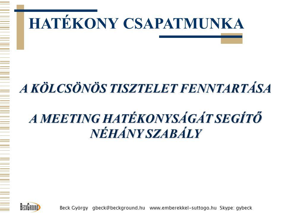 TILOS A CIKIZÉS Működési szabályok Beck György gbeck@beckground.hu www.emberekkel-suttogo.hu Skype: gybeck