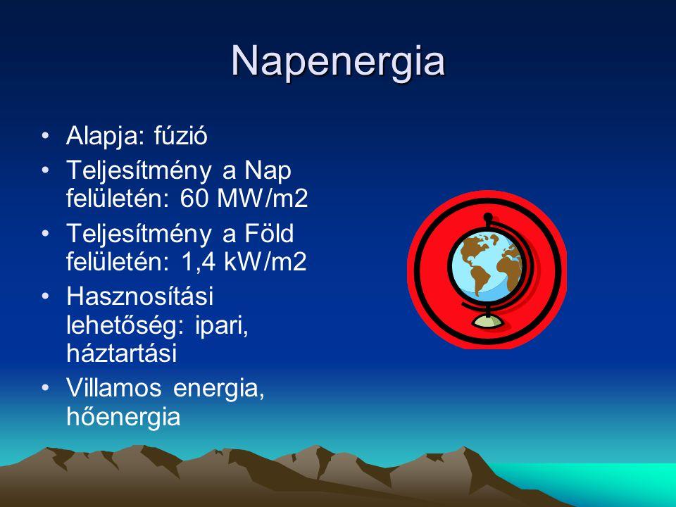 Alternatív energiaforrások Napenergia Vízenergia Geotermikus energia Szélenergia Bioenergia Hidrogéncella