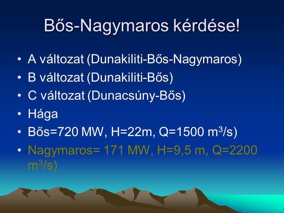 A vízerőműveknél kinyerhető villamos-teljesítmény P t =0,001*Q*H*ρ v *η*g kW Q térfogatáram m 3 /s-ban, H az üzemi esés, ρ V a víz sűrűsége, η összhatásfok, g gravitációs gyorsulás