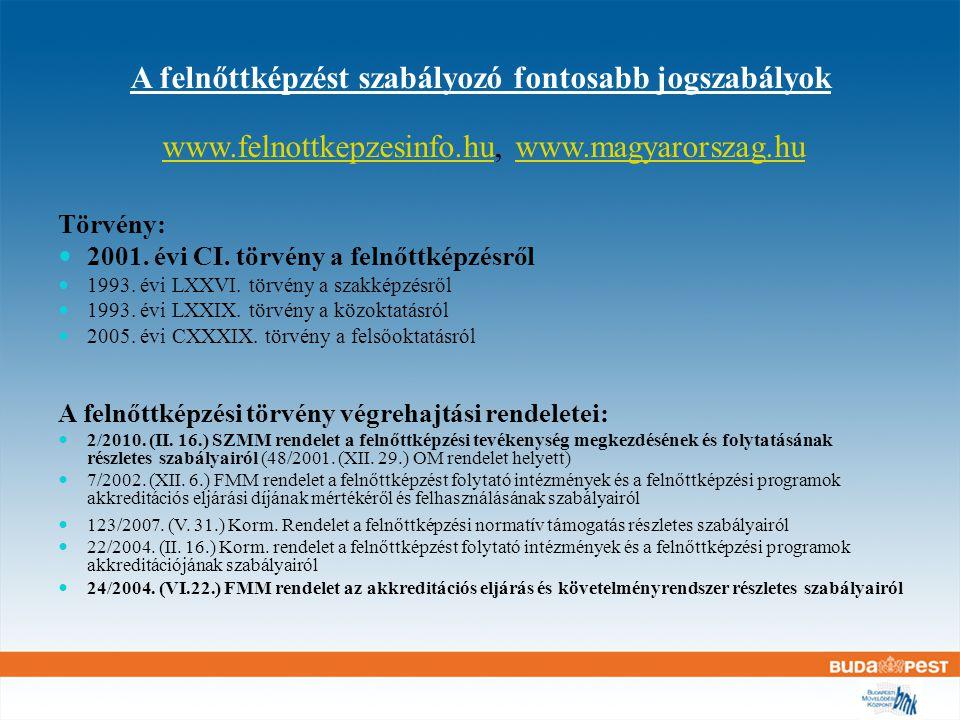 Út az intézmény-akkreditációig Bejelentés (nyilvántartásba vétel) Képzési program akkreditációja Akkreditált képzési program megvalósítása Intézmény akkreditáció