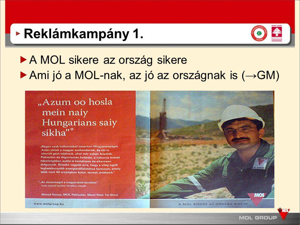 8 Reklámkampány 1.  A MOL sikere az ország sikere  Ami jó a MOL-nak, az jó az országnak is (→GM)