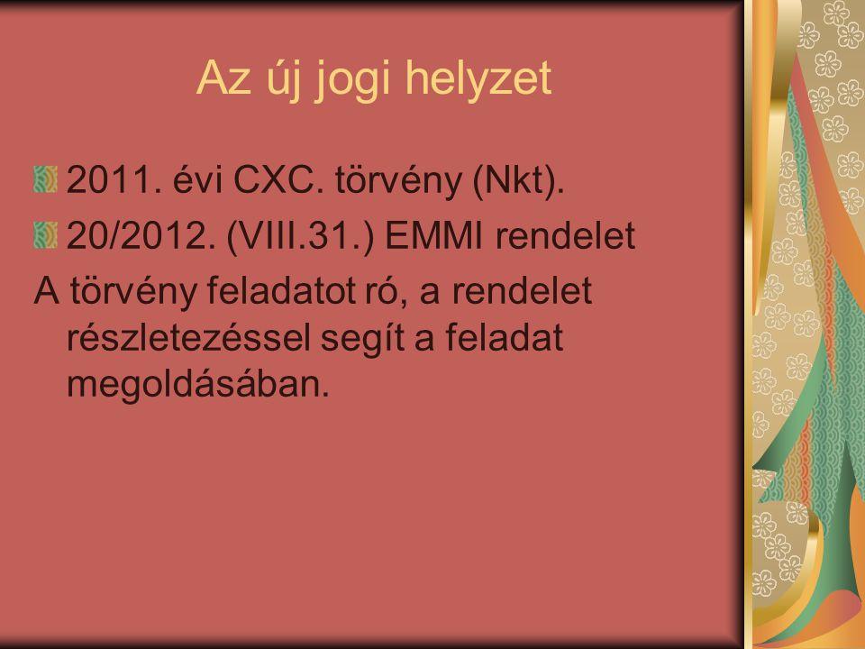 Az új jogi helyzet 2011. évi CXC. törvény (Nkt).