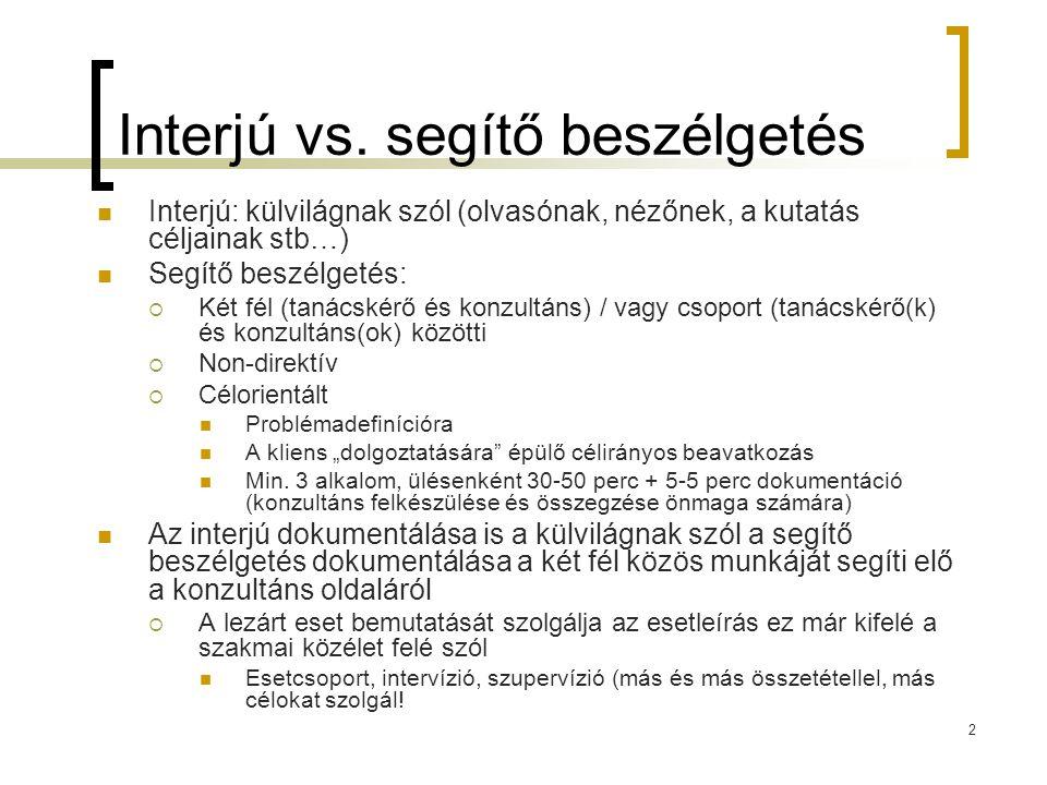 2 Interjú vs. segítő beszélgetés Interjú: külvilágnak szól (olvasónak, nézőnek, a kutatás céljainak stb…) Segítő beszélgetés:  Két fél (tanácskérő és