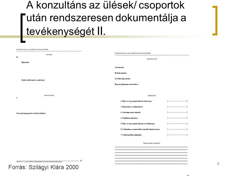 6 A konzultáns az ülések/ csoportok után rendszeresen dokumentálja a tevékenységét II. Forrás: Szilágyi Klára 2000