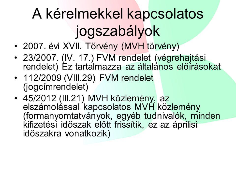 A kérelmekkel kapcsolatos jogszabályok 2007. évi XVII. Törvény (MVH törvény) 23/2007. (IV. 17.) FVM rendelet (végrehajtási rendelet) Ez tartalmazza az