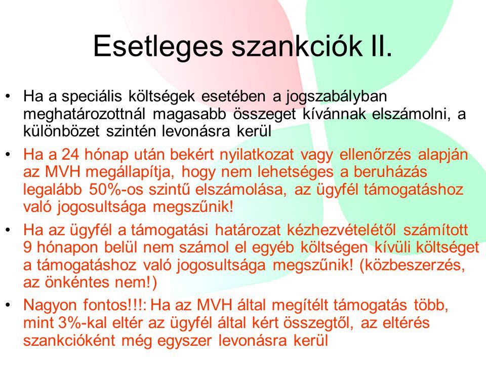Esetleges szankciók II.