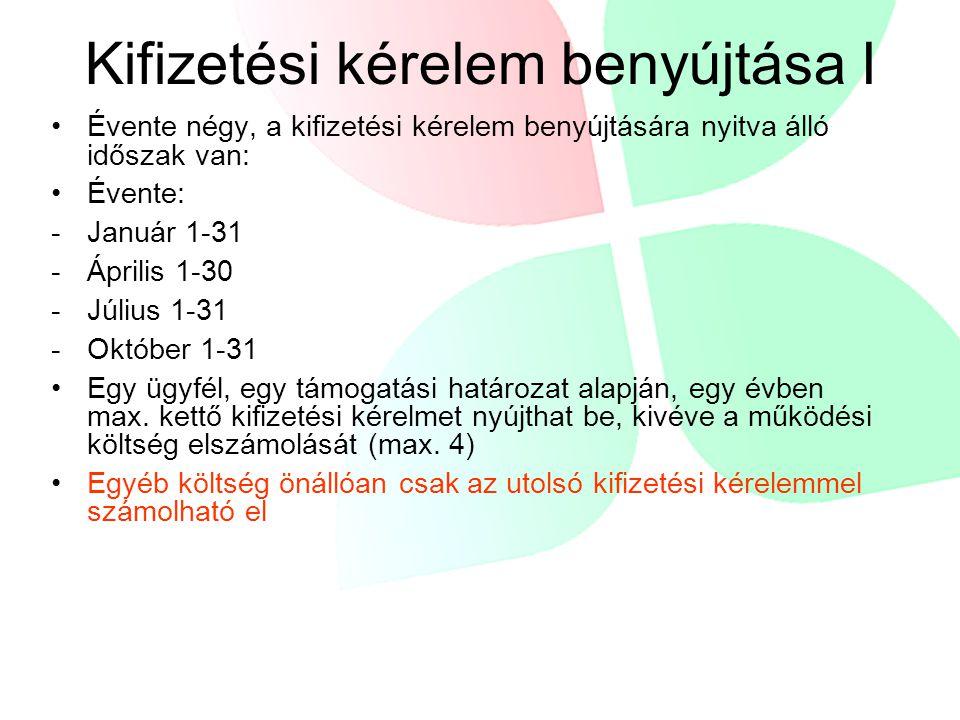 Kifizetési kérelem benyújtása I Évente négy, a kifizetési kérelem benyújtására nyitva álló időszak van: Évente: -Január 1-31 -Április 1-30 -Július 1-3