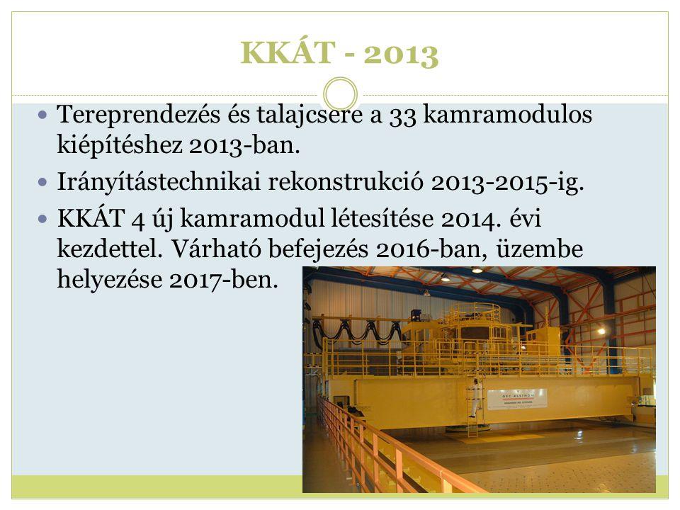 KKÁT - 2013 Tereprendezés és talajcsere a 33 kamramodulos kiépítéshez 2013-ban. Irányítástechnikai rekonstrukció 2013-2015-ig. KKÁT 4 új kamramodul lé