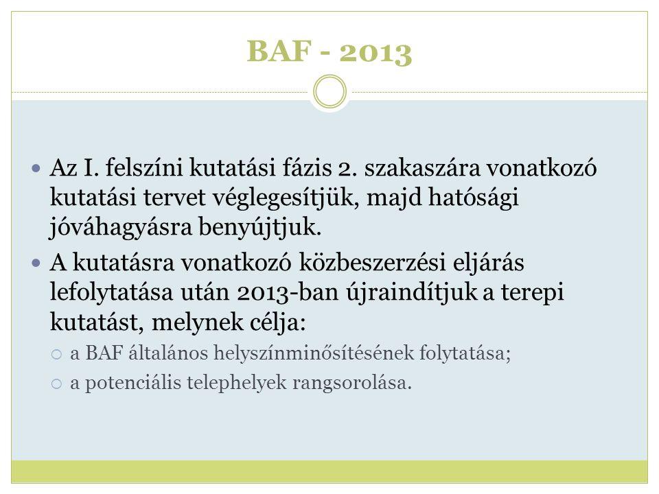 BAF - 2013 Az I. felszíni kutatási fázis 2. szakaszára vonatkozó kutatási tervet véglegesítjük, majd hatósági jóváhagyásra benyújtjuk. A kutatásra von