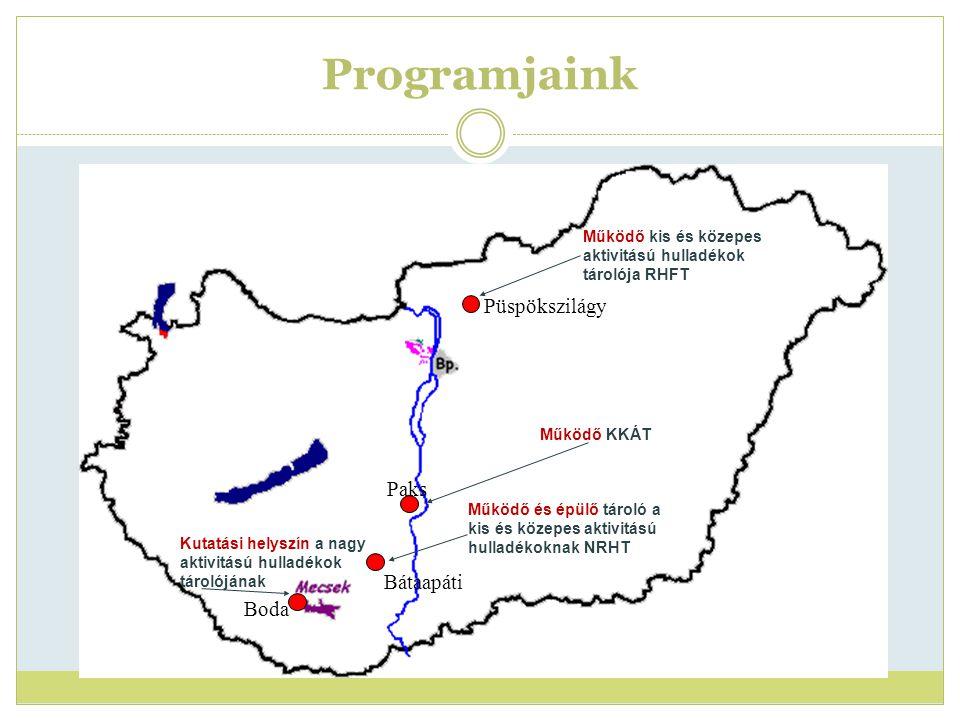 Radioaktív Hulladék Feldolgozó és Tároló 2012 Idén megközelítőleg 100 alkalommal történt beszállítás a telephelyre.