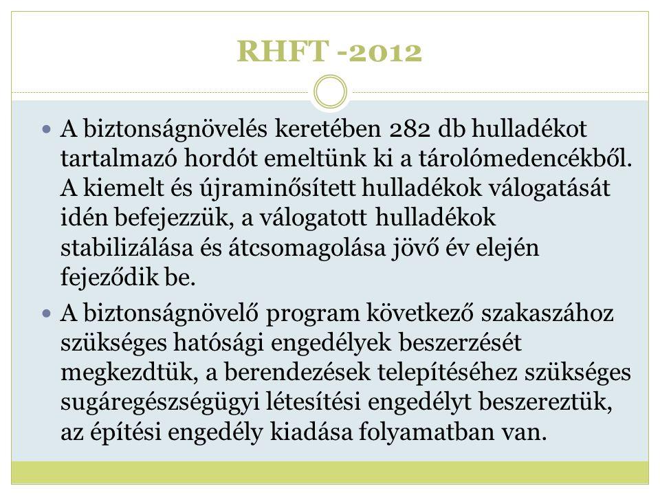 RHFT -2012 A biztonságnövelés keretében 282 db hulladékot tartalmazó hordót emeltünk ki a tárolómedencékből. A kiemelt és újraminősített hulladékok vá