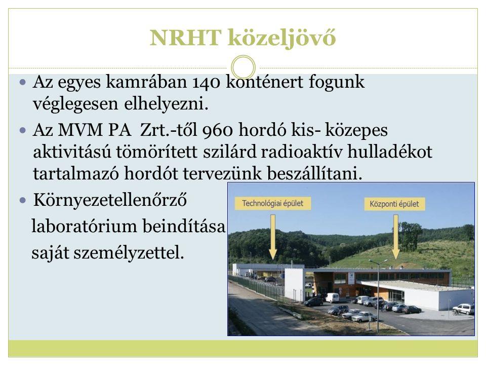 NRHT közeljövő Az egyes kamrában 140 konténert fogunk véglegesen elhelyezni. Az MVM PA Zrt.-től 960 hordó kis- közepes aktivitású tömörített szilárd r