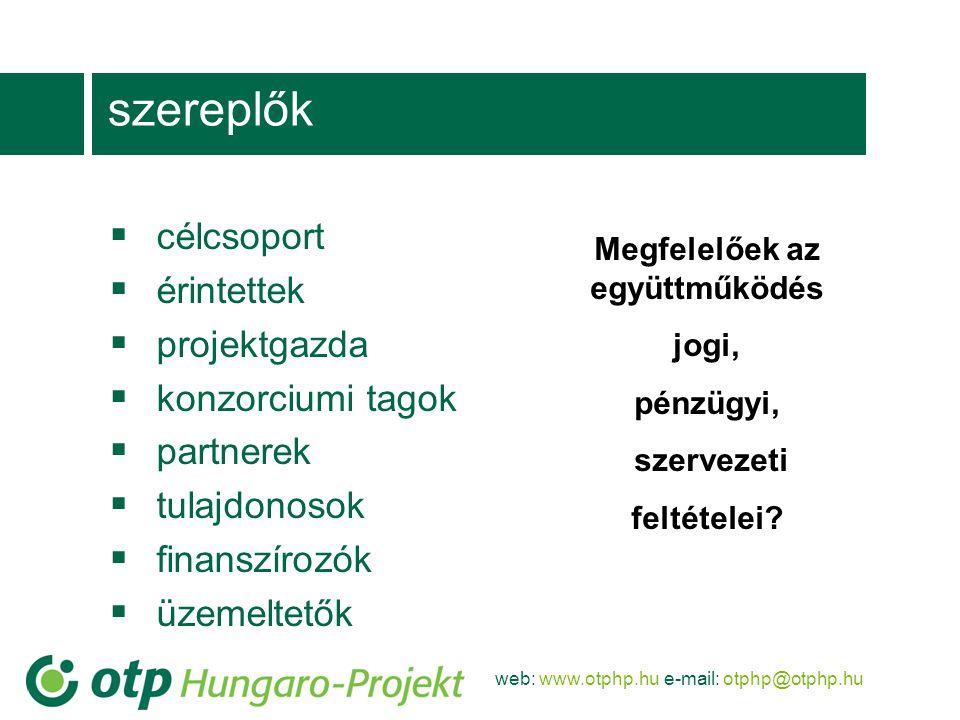 web: www.otphp.hu e-mail: otphp@otphp.hu szereplők  célcsoport  érintettek  projektgazda  konzorciumi tagok  partnerek  tulajdonosok  finanszírozók  üzemeltetők Megfelelőek az együttműködés jogi, pénzügyi, szervezeti feltételei?