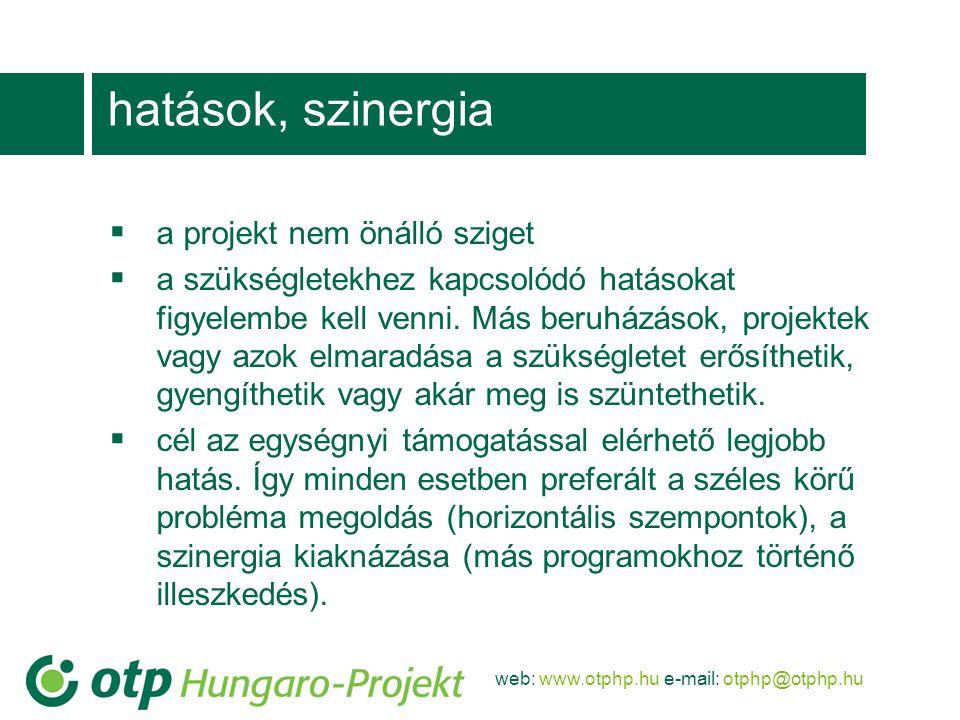 web: www.otphp.hu e-mail: otphp@otphp.hu hatások, szinergia  a projekt nem önálló sziget  a szükségletekhez kapcsolódó hatásokat figyelembe kell venni.