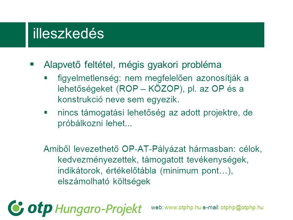 web: www.otphp.hu e-mail: otphp@otphp.hu illeszkedés  Alapvető feltétel, mégis gyakori probléma  figyelmetlenség: nem megfelelően azonosítják a lehetőségeket (ROP – KÖZOP), pl.