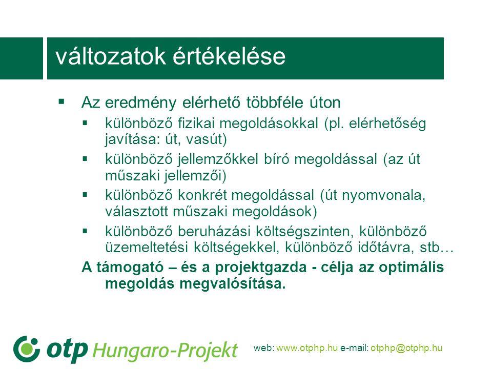 web: www.otphp.hu e-mail: otphp@otphp.hu változatok értékelése  Az eredmény elérhető többféle úton  különböző fizikai megoldásokkal (pl.