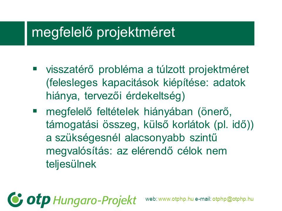 web: www.otphp.hu e-mail: otphp@otphp.hu megfelelő projektméret  visszatérő probléma a túlzott projektméret (felesleges kapacitások kiépítése: adatok hiánya, tervezői érdekeltség)  megfelelő feltételek hiányában (önerő, támogatási összeg, külső korlátok (pl.