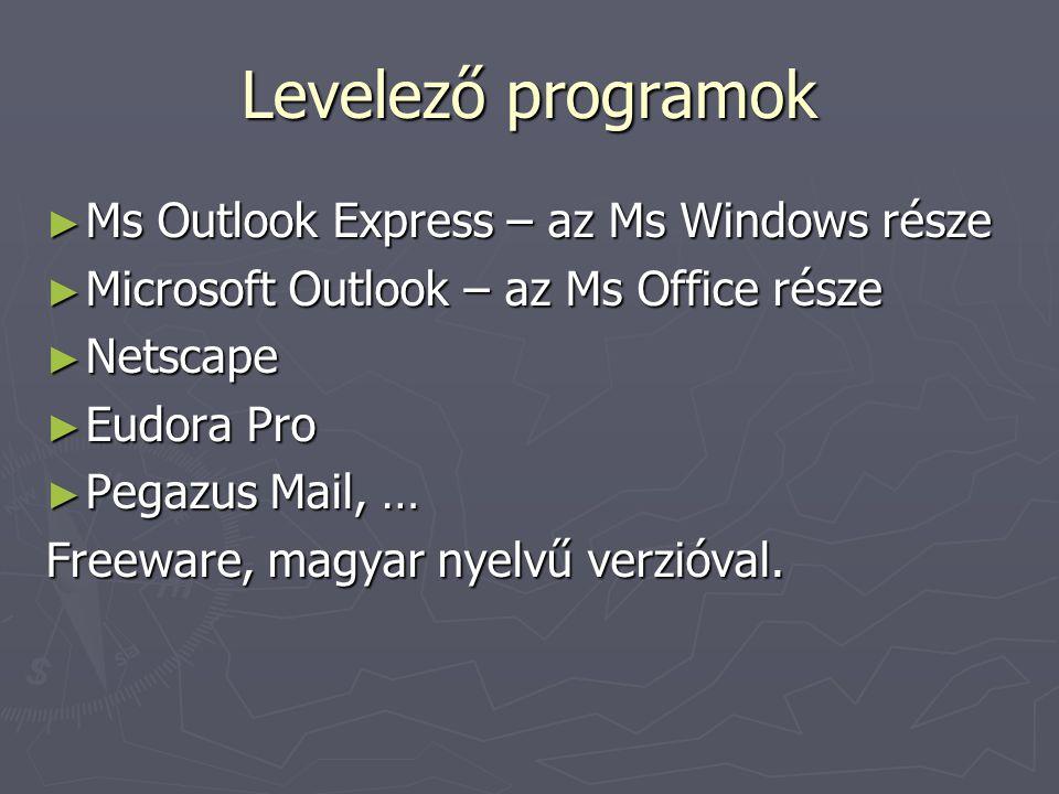 Levelező programok ► Ms Outlook Express – az Ms Windows része ► Microsoft Outlook – az Ms Office része ► Netscape ► Eudora Pro ► Pegazus Mail, … Freeware, magyar nyelvű verzióval.