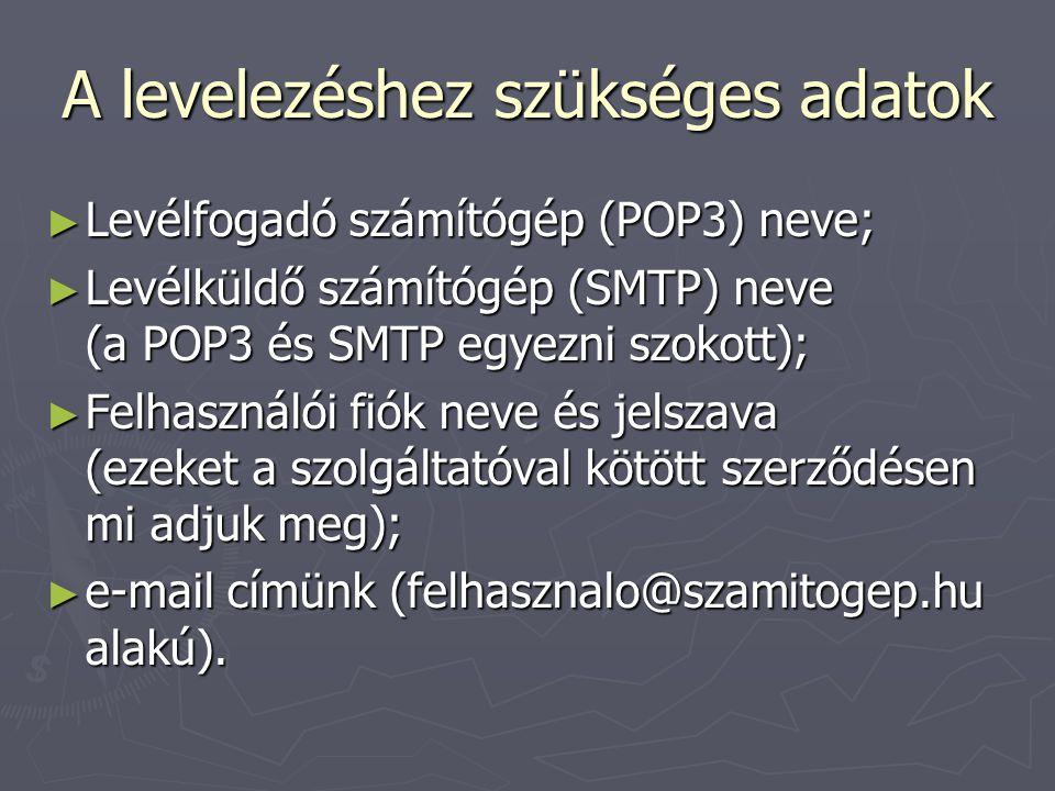 A levelezéshez szükséges adatok ► Levélfogadó számítógép (POP3) neve; ► Levélküldő számítógép (SMTP) neve (a POP3 és SMTP egyezni szokott); ► Felhasználói fiók neve és jelszava (ezeket a szolgáltatóval kötött szerződésen mi adjuk meg); ► e-mail címünk (felhasznalo@szamitogep.hu alakú).