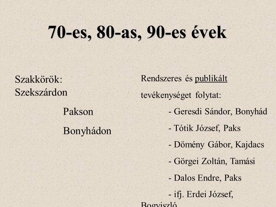 70-es, 80-as, 90-es évek Szakkörök: Szekszárdon Pakson Bonyhádon Rendszeres és publikált tevékenységet folytat: - Geresdi Sándor, Bonyhád - Tótik József, Paks - Dömény Gábor, Kajdacs - Görgei Zoltán, Tamási - Dalos Endre, Paks - ifj.