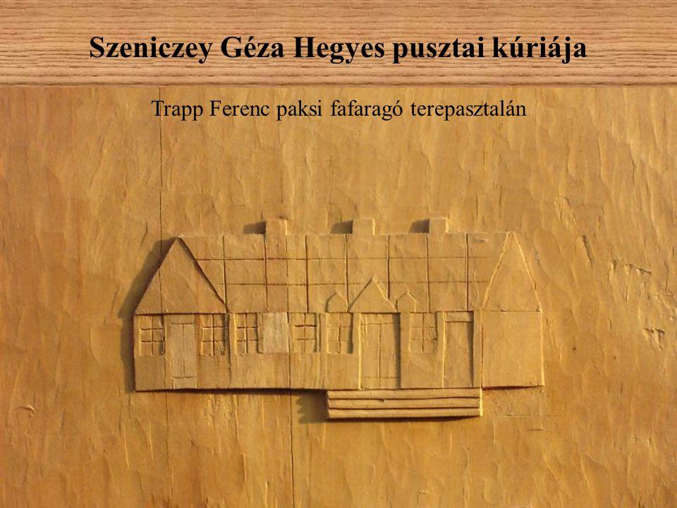 Szeniczey Géza Hegyes pusztai kúriája Trapp Ferenc paksi fafaragó terepasztalán