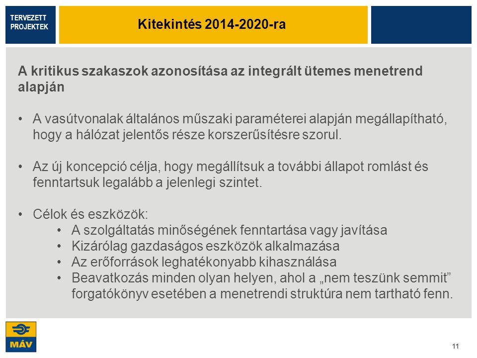 11 A kritikus szakaszok azonosítása az integrált ütemes menetrend alapján A vasútvonalak általános műszaki paraméterei alapján megállapítható, hogy a