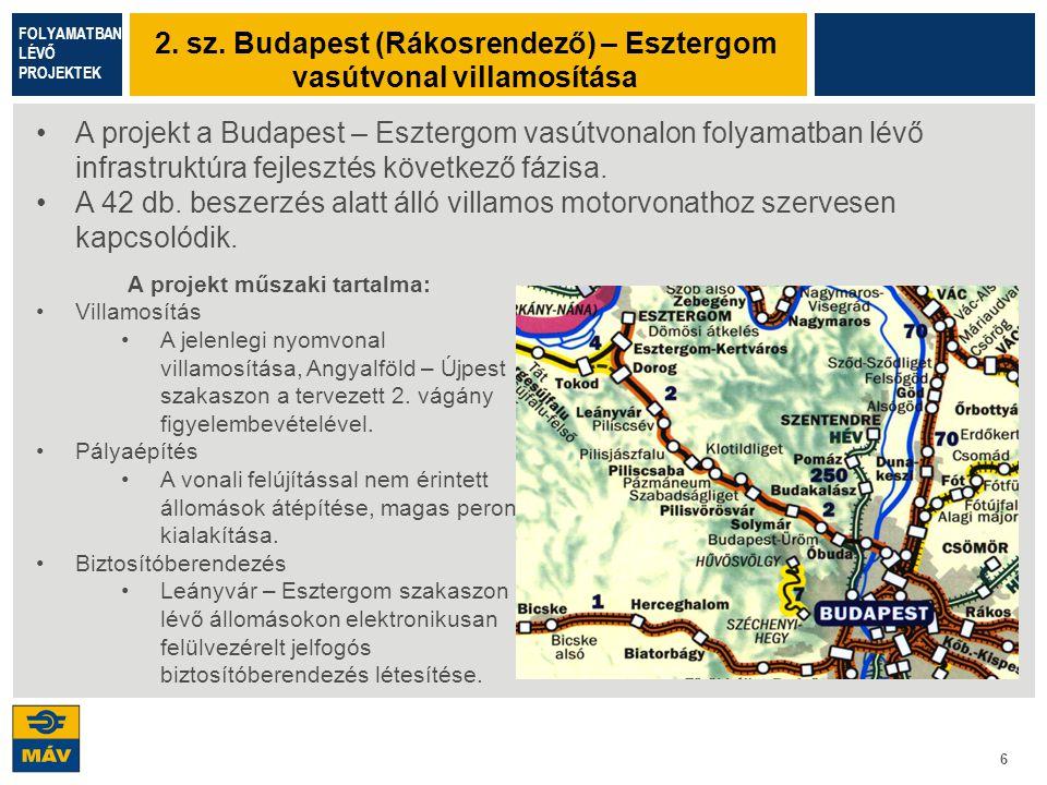 6 A projekt a Budapest – Esztergom vasútvonalon folyamatban lévő infrastruktúra fejlesztés következő fázisa. A 42 db. beszerzés alatt álló villamos mo