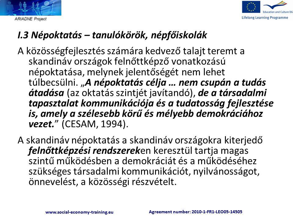 ARIADNE Project Agreement number: 2010-1-FR1-LEO05-14505 www.social-economy-training.eu Agreement number: 2010-1-FR1-LEO05-14505 www.social-economy-training.eu I.3 Népoktatás – tanulókörök, népfőiskolák A közösségfejlesztés számára kedvező talajt teremt a skandináv országok felnőttképző vonatkozású népoktatása, melynek jelentőségét nem lehet túlbecsülni.