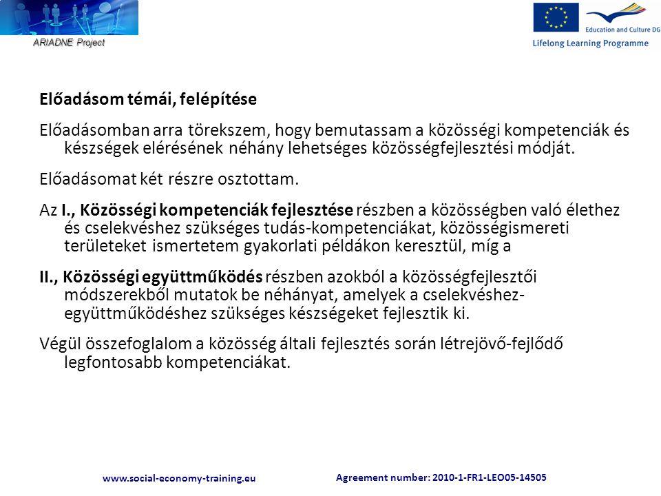 ARIADNE Project Agreement number: 2010-1-FR1-LEO05-14505 www.social-economy-training.eu Agreement number: 2010-1-FR1-LEO05-14505 www.social-economy-training.eu E formális képzési alkalmak 1997 óta szerveződnek egy-egy éppen aktuális téma köré, bentlakásos, vagyis közösségépítő jellegűek; egy-egy alkalommal több közösség is képviselteti magát, elősegítendő az egymástól tanulást; a képzések építenek a felnőtt emberek már meglévő tudására és élettapasztalatára és biztosítják a résztvevők aktív részvételét.