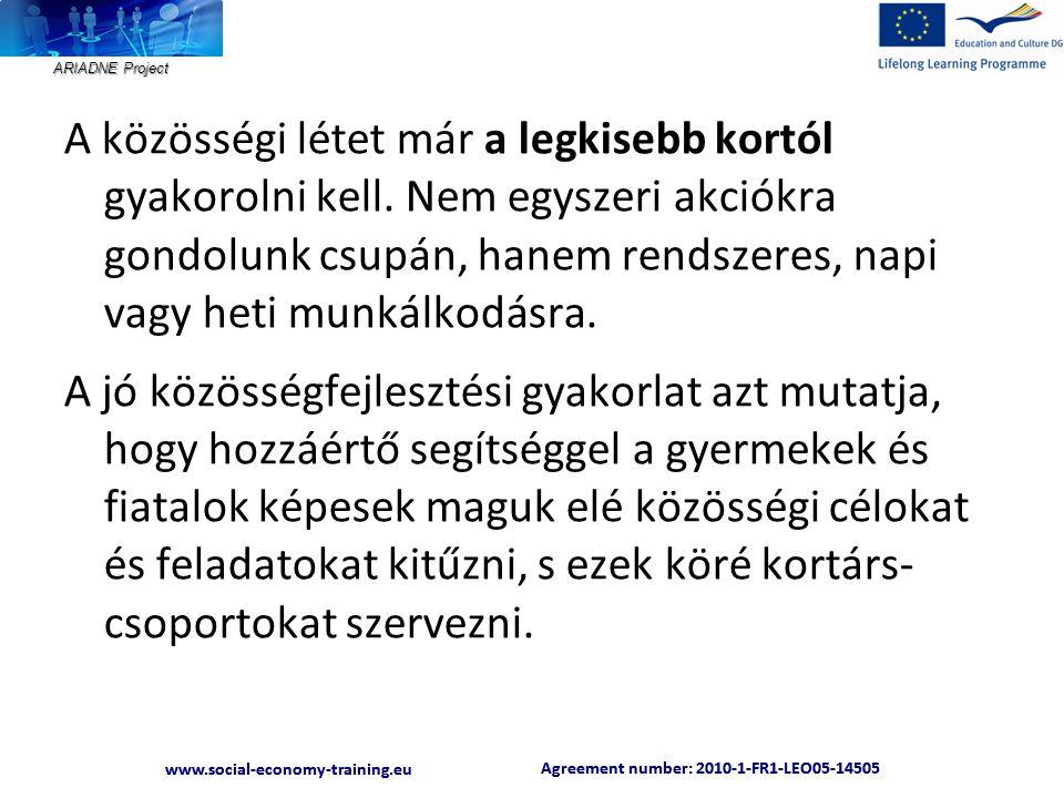ARIADNE Project Agreement number: 2010-1-FR1-LEO05-14505 www.social-economy-training.eu Agreement number: 2010-1-FR1-LEO05-14505 www.social-economy-training.eu I.1 Helyi tantervek A közösségi szocializáció folyamatát a nemzeti alaptantervet kiegészítő, helyi, közösségi módon kidolgozott, közösségi legitimációval rendelkező helyi tantervek tehetik eredményesebbé, amennyiben a megszerzett kompetenciák adekvát módon beültetődnek a iskolarendszeren belüli és a közösségi gyakorlatba.