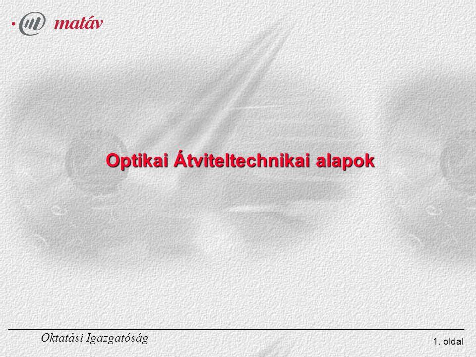 Oktatási Igazgatóság 1. oldal Optikai Átviteltechnikai alapok