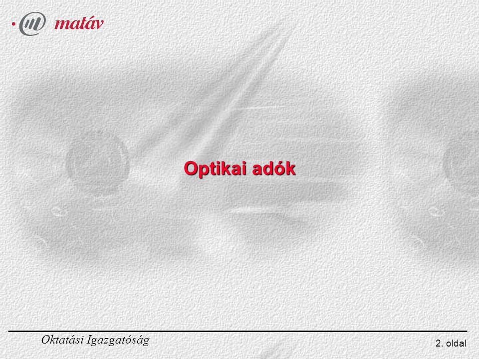 Oktatási Igazgatóság 2. oldal Optikai adók
