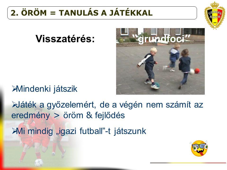 """Visszatérés: """" grundfoci """"  Mindenki játszik  Játék a győzelemért, de a végén nem számít az eredmény > öröm & fejlődés  Mi mindig """"igazi futball""""-t"""