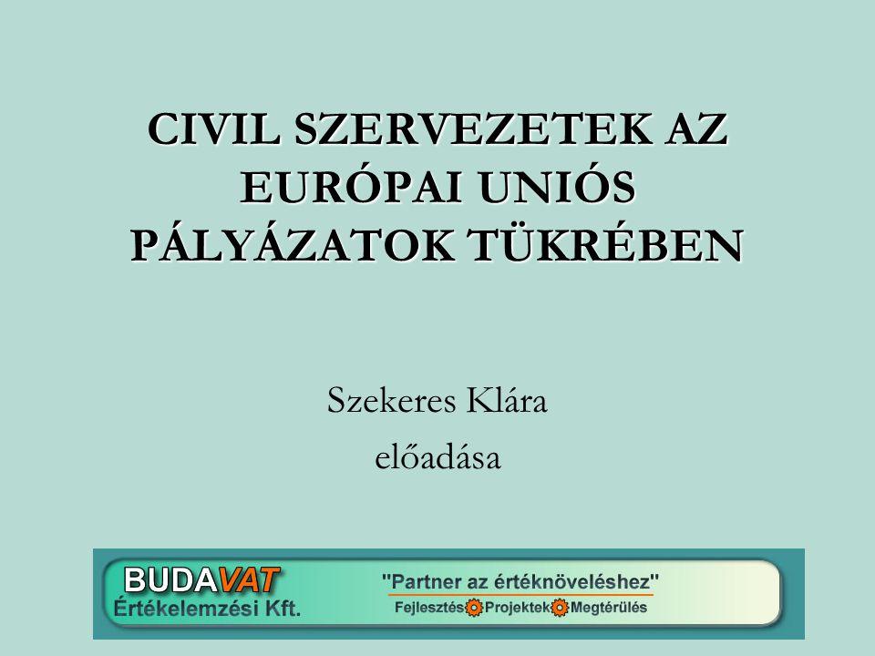 CIVIL SZERVEZETEK AZ EURÓPAI UNIÓS PÁLYÁZATOK TÜKRÉBEN Szekeres Klára előadása
