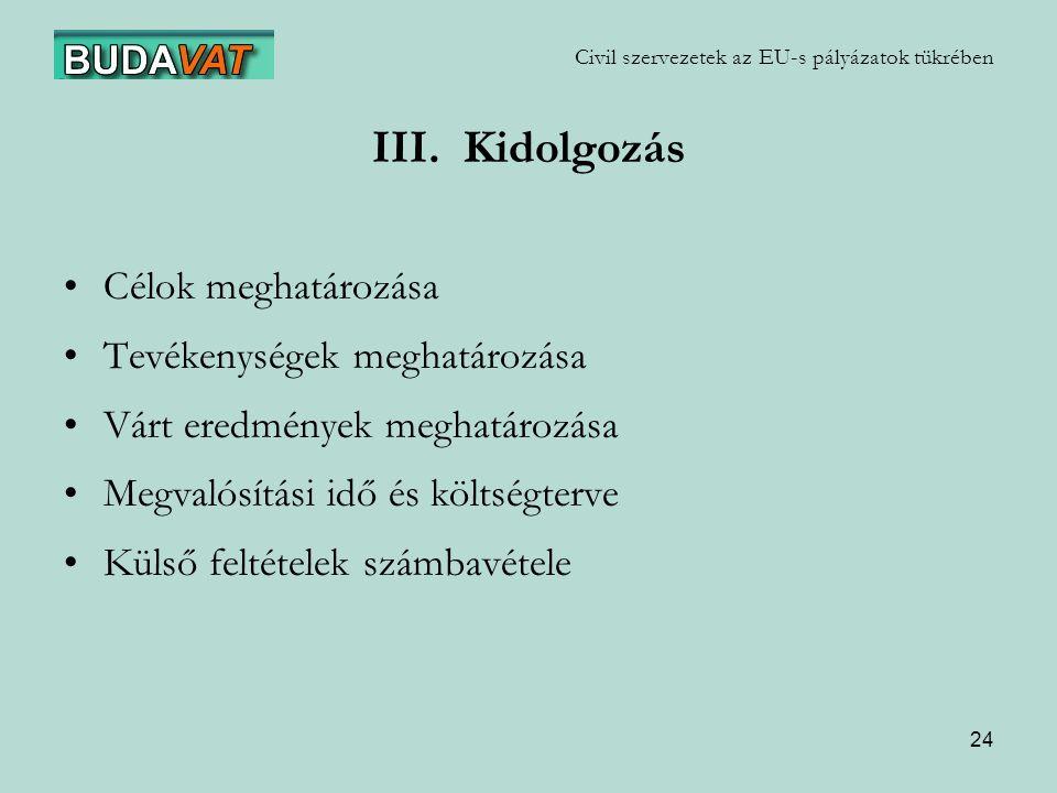 24 Civil szervezetek az EU-s pályázatok tükrében III.
