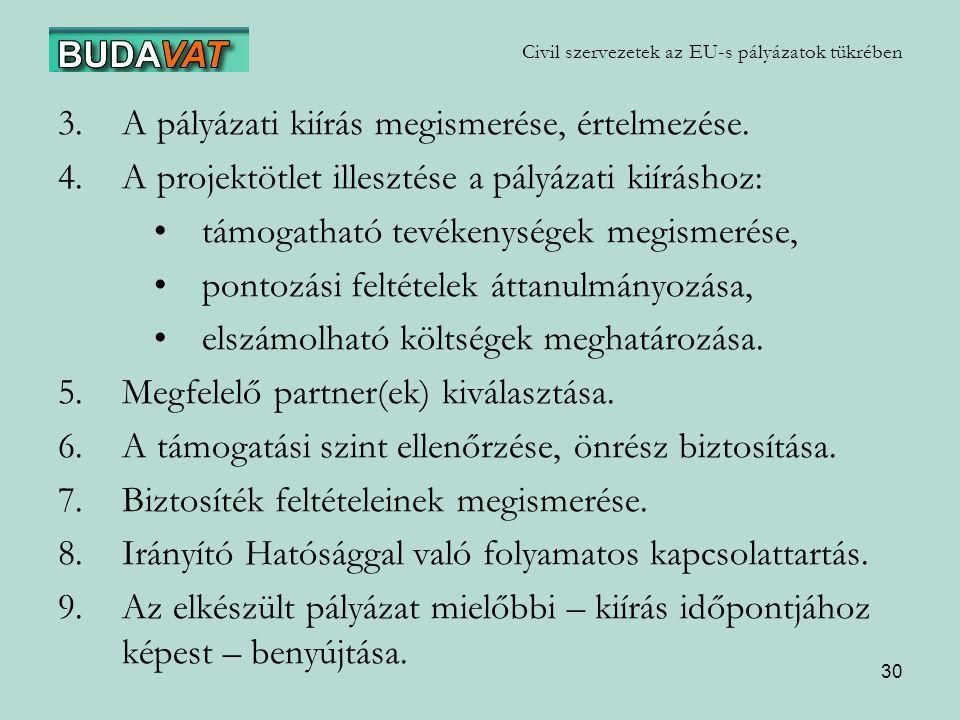 30 Civil szervezetek az EU-s pályázatok tükrében 3.A pályázati kiírás megismerése, értelmezése.