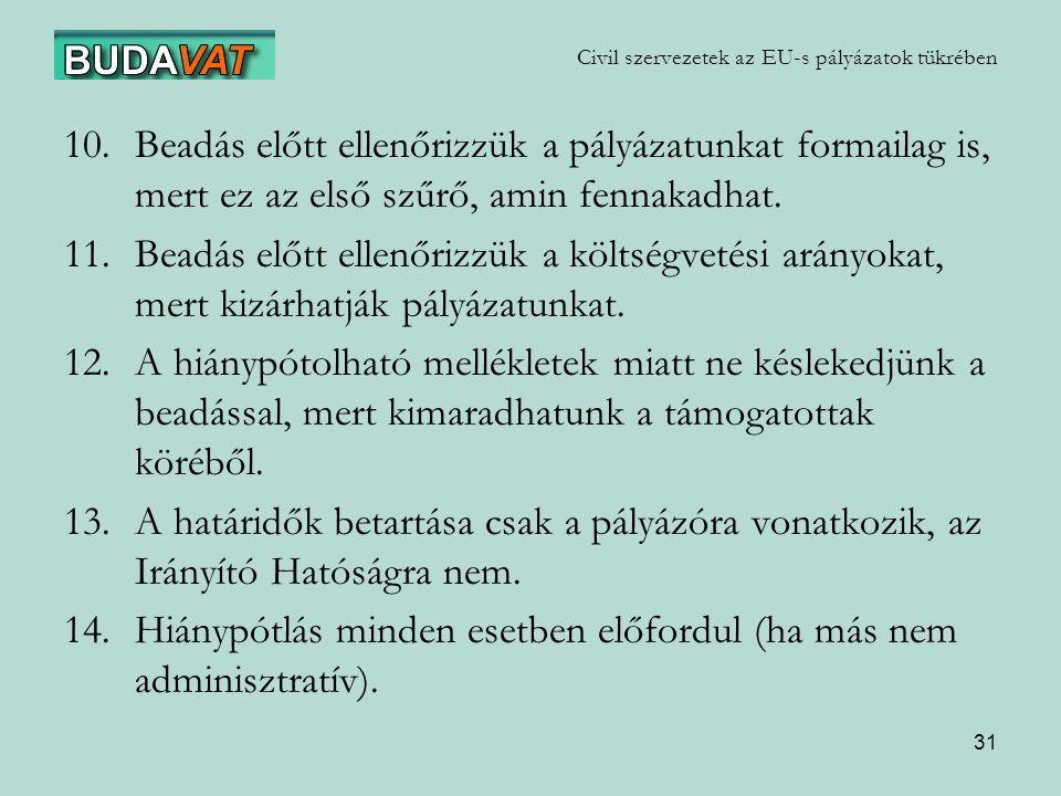 31 Civil szervezetek az EU-s pályázatok tükrében 10.Beadás előtt ellenőrizzük a pályázatunkat formailag is, mert ez az első szűrő, amin fennakadhat.