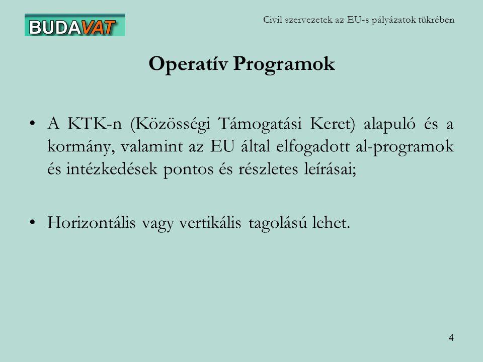 4 Civil szervezetek az EU-s pályázatok tükrében Operatív Programok A KTK-n (Közösségi Támogatási Keret) alapuló és a kormány, valamint az EU által elfogadott al-programok és intézkedések pontos és részletes leírásai; Horizontális vagy vertikális tagolású lehet.