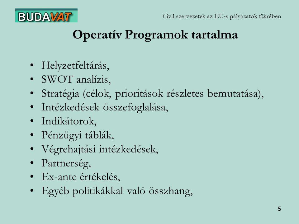 5 Civil szervezetek az EU-s pályázatok tükrében Operatív Programok tartalma Helyzetfeltárás, SWOT analízis, Stratégia (célok, prioritások részletes bemutatása), Intézkedések összefoglalása, Indikátorok, Pénzügyi táblák, Végrehajtási intézkedések, Partnerség, Ex-ante értékelés, Egyéb politikákkal való összhang,