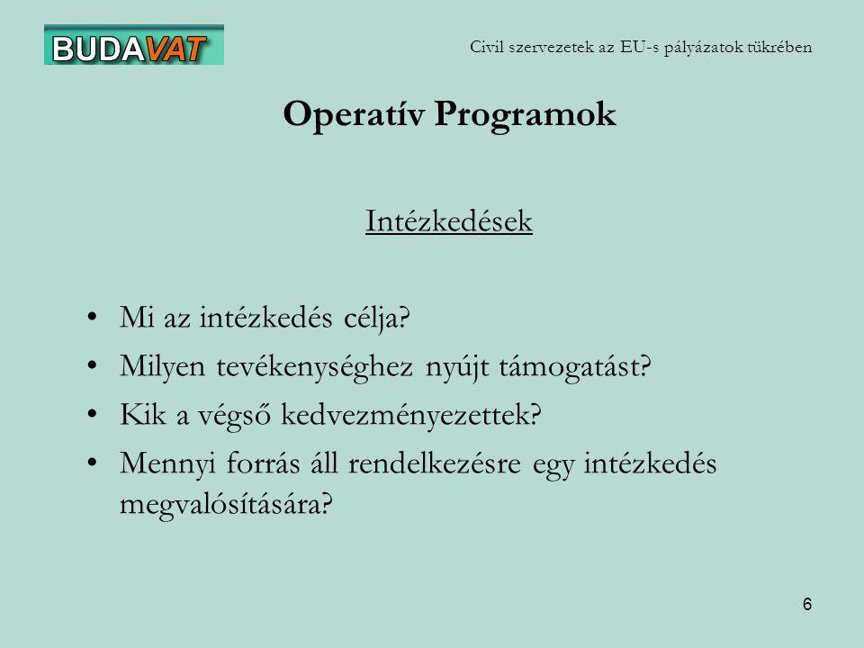 7 Civil szervezetek az EU-s pályázatok tükrében Operatív Programok GVOP: Gazdasági Versenyképesség OP (GKM) KIOP: Környezet- és Infrastruktúra-fejlesztés OP (GKM) AVOP: Agrár- és Vidékfejlesztés OP (FVM) HEFOP: Humánerőforrás-fejlesztés OP (FMM) ROP: Regionális-fejlesztés OP (MeH NTH)