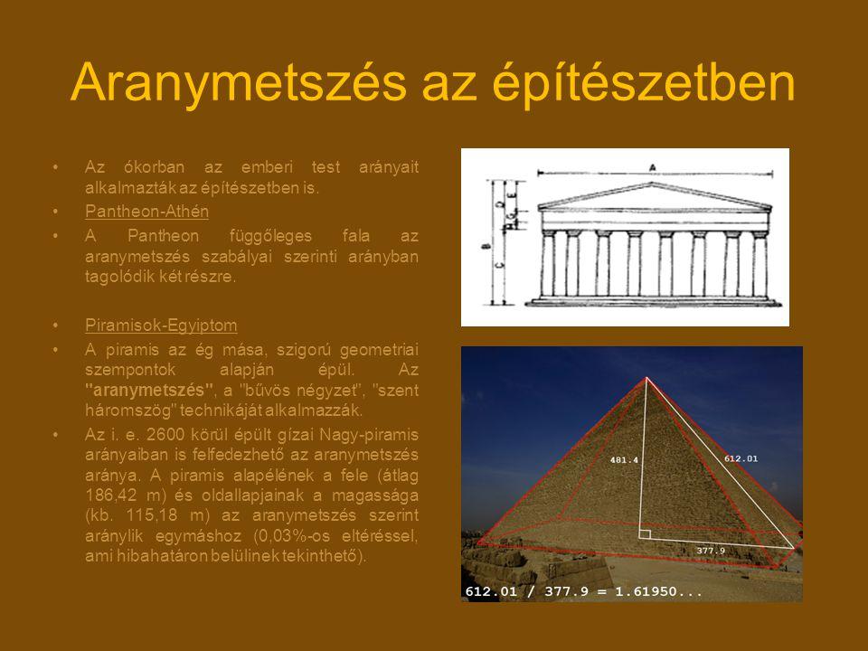Aranymetszés az építészetben Az ókorban az emberi test arányait alkalmazták az építészetben is. Pantheon-Athén A Pantheon függőleges fala az aranymets