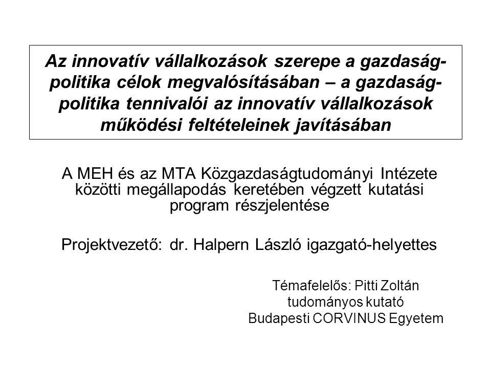 Az innovatív vállalkozások szerepe a gazdaság- politika célok megvalósításában – a gazdaság- politika tennivalói az innovatív vállalkozások működési f