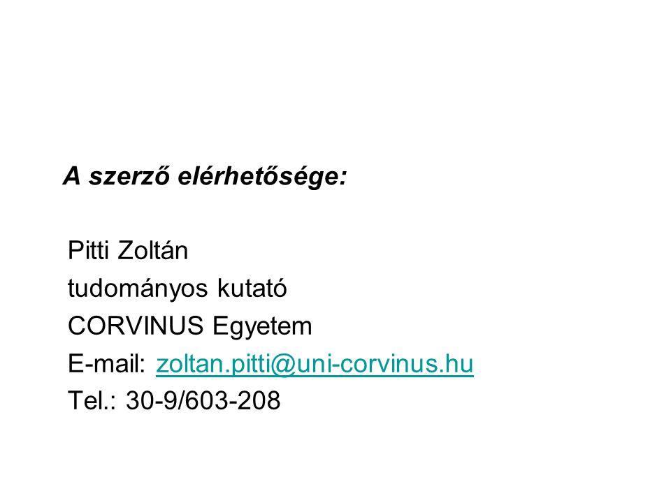 A szerző elérhetősége: Pitti Zoltán tudományos kutató CORVINUS Egyetem E-mail: zoltan.pitti@uni-corvinus.huzoltan.pitti@uni-corvinus.hu Tel.: 30-9/603-208