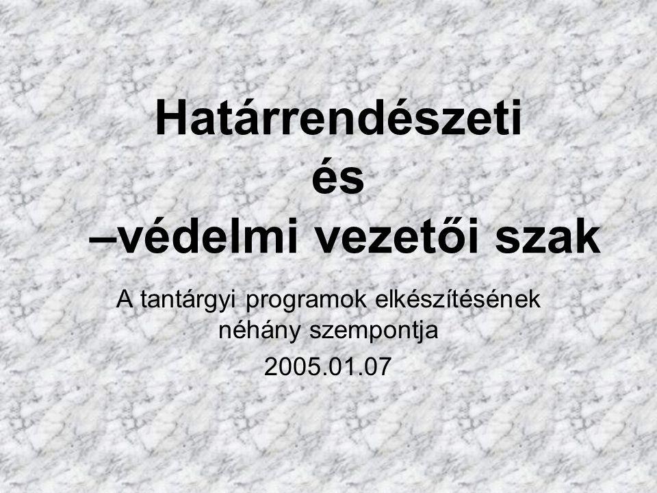 Határrendészeti és –védelmi vezetői szak A tantárgyi programok elkészítésének néhány szempontja 2005.01.07