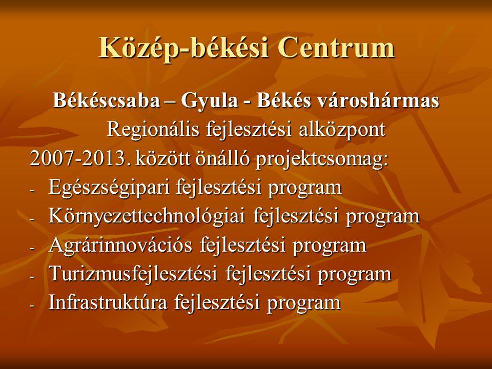 Közép-békési Centrum Békéscsaba – Gyula - Békés városhármas Regionális fejlesztési alközpont 2007-2013. között önálló projektcsomag: - Egészségipari f